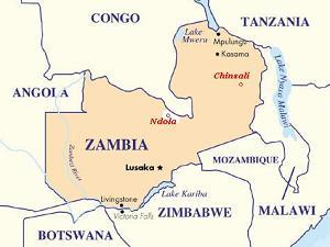 Kaart Zambia met Chinsali